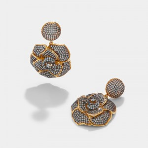 Gold plated white zircon flower earrings